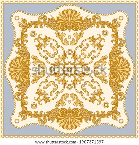Bandana print on a beige and blue background, Gold chains and cables, Greek beads frieze, Baroque scrolls and pearl oyster shell. Scarf, neckerchief, kerchief, carpet, rug, mat Stock fotó ©