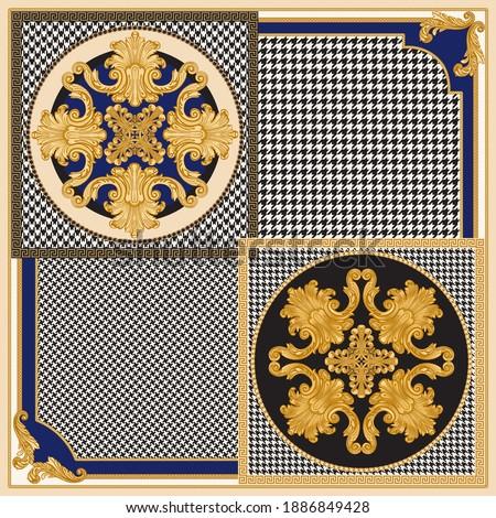 Bandana print on a black and white chicken feet pied-de-poule pattern beige background, Gold chains, Baroque scrolls. Scarf, neckerchief, kerchief, silk textile patch, carpet, rug, mat