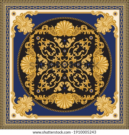 Bandana print on black and blue background, Gold chains and cables, Greek meander frieze, Baroque scrolls, Rococo sea shells and sapphire jewelry gem stones. Scarf, neckerchief, kerchief, carpet, rug