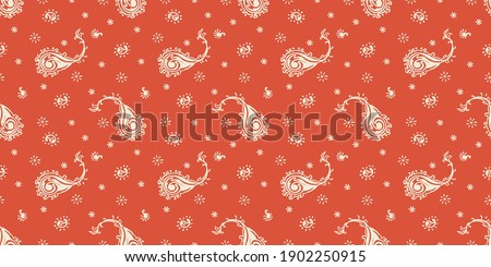 Bandana Print. Vector seamless pattern with paisley ornament. Silk neck scarf or kerchief. Floral vintage background. Asian textile. Tribal texture. Bohemian style. Indian motif. Foto stock ©
