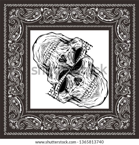 bandana skull black white #1365813740