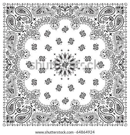 Bandana White: White bandana with black ornaments. No transparency and gradients used. - stock vector