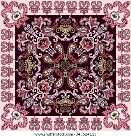 bandanna  with openwork  paisley and decorative swirls on a dark burgundy background with a light pink border #345624116