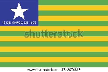 Bandeira oficial do Piaui, PI, estado do Brasil (Official flag of Piaui, PI, state of Brazil in portuguese). Vector illustration.