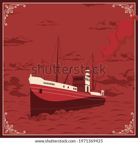 Bandirma Vapuru 19 mayis Ataturk'u Anma, Genclik ve Spor Bayrami , 19 may Commemoration of Ataturk, Youth and Sports Day, Ship vintage vector illustration.