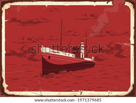 Bandirma Vapuru 19 mayis Ataturk'u Anma, Genclik ve Spor Bayrami , 19 may Commemoration of Ataturk, Youth and Sports Day, Ship vintage vector illustration. Stok fotoğraf ©