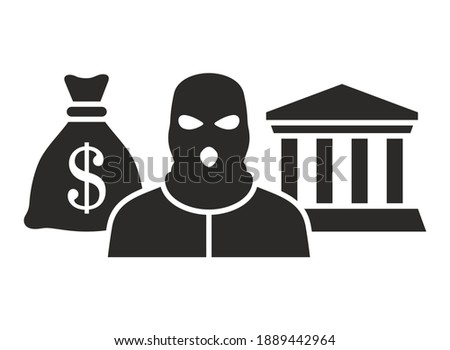 Bandit icon. Crime. Bank robbery. Vector icon isolated on white background. ストックフォト ©