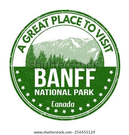 Banff national park grunge rubber stamp on white background, vector illustration