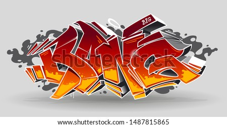 Bang - wild style graffiti 3D blocks with red and yellow colours on white background. Street art graffiti lettering. Vector art.