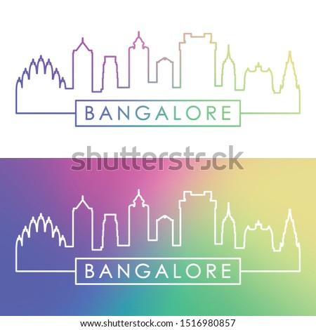 Bangalore skyline. Colorful linear style. Editable vector file.
