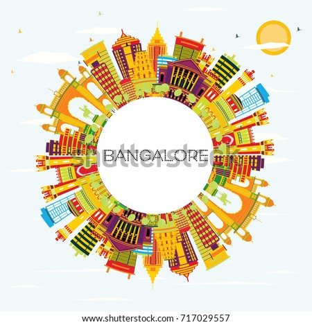 Bangalore Skyline with Color Buildings, Blue Sky and Copy Space. Vector Illustration. Business Travel and Tourism Concept with Historic Architecture.
