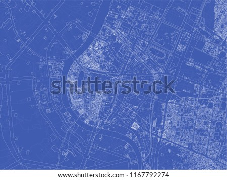 Bangkok blueprint map. Unusual touristic map concept.