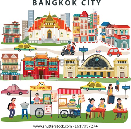 Bangkok city landmarks travel map  with thai temple, china town, train station, street food market, and old town, all on white background, doodle style, illustration , vector
