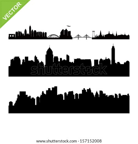 Bangkok landmark and skyline silhouettes vector