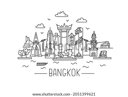 Bangkok lineart illustration. Bangkok line drawing. Modern style Bangkok city illustration. Hand sketched poster, banner, postcard, card template for travel company, T-shirt, shirt. Vector EPS 10