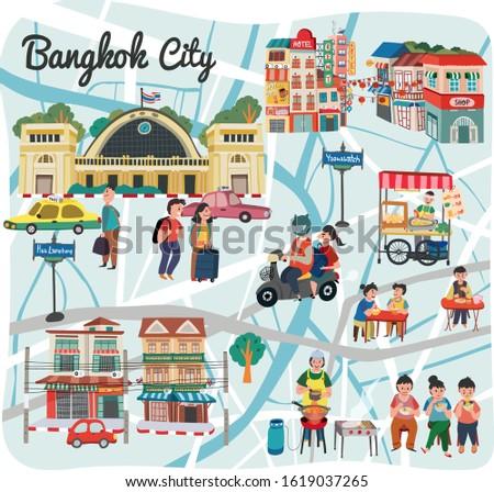 Bangkok map travel illustration, Bangkok city  landmark concept, in doodle style, Thailand, vector.