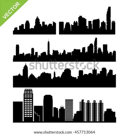 Bangkok skyline silhouettes vector set 2
