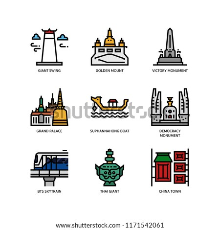 Bangkok symbols and landmarks icons