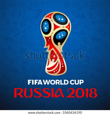 BANGKOK, THAILAND, March 22 2018, FIFA World Cup Russia 2018 on blue background. Vector illustration