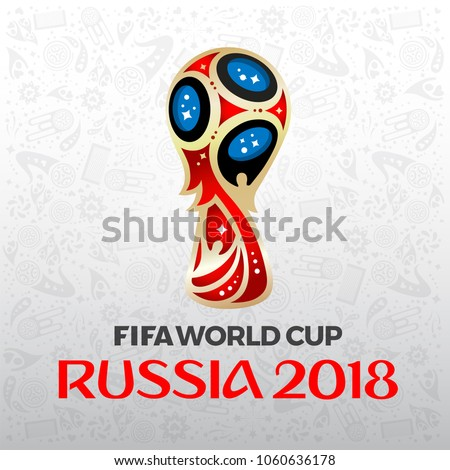 BANGKOK, THAILAND, March 22 2018, FIFA World Cup Russia 2018 on white background. Vector illustration