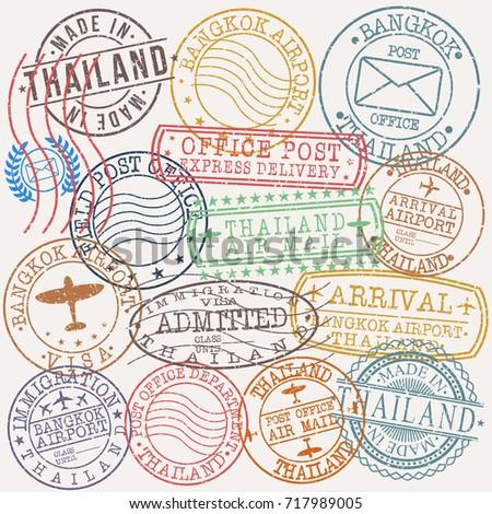 Bangkok Thailand Stamp Vector Art Symbol Design