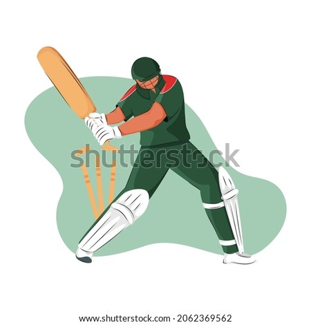 Bangladesh Cricket Batter Losing His Wicket On Abstract Background.