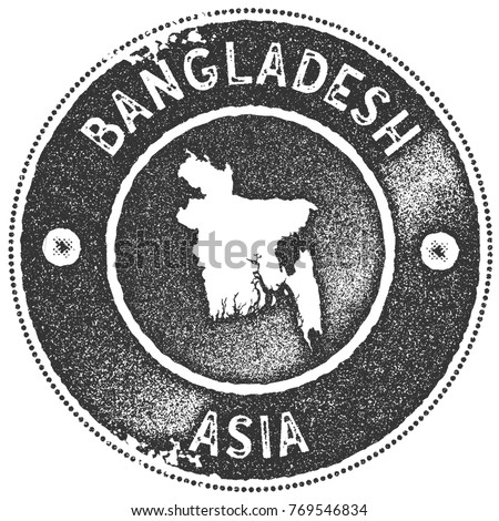 Bangladesh map vintage stamp. Retro style handmade label, badge or element for travel souvenirs. Dark grey rubber stamp with country map silhouette. Vector illustration.