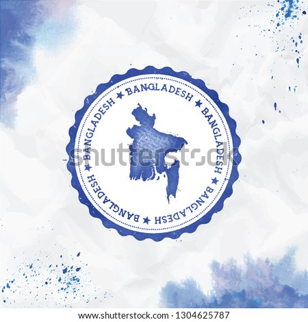 Bangladesh watercolor round rubber stamp with country map. Blue passport stamp with circular text and stars, vector illustration.