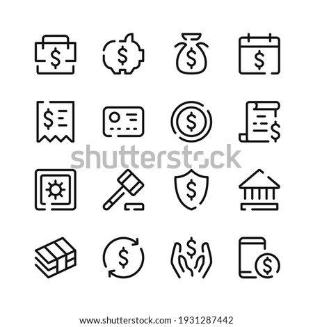 Bank account icons. Vector line icons. Simple outline symbols set