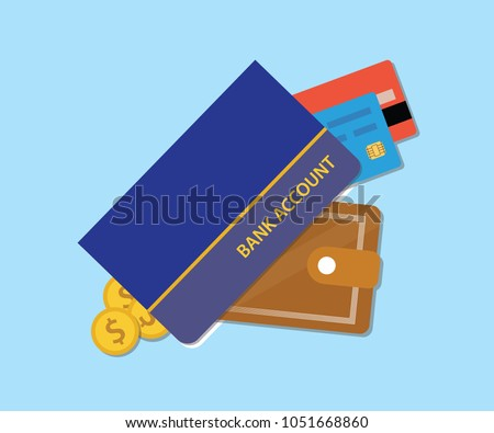 bank accounts book with wallet credit card and money vector graphic illustration