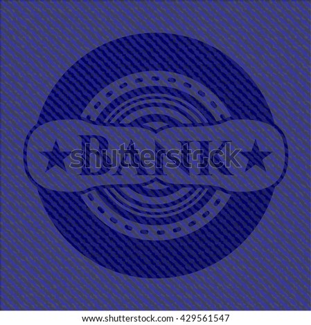 Bank badge with denim texture