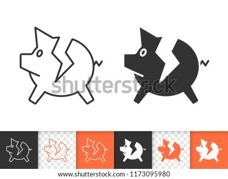 Bank black linear and silhouette icons. Thin line sign of broken piggy. Break Piggybank outline pictogram isolated on white, color transparent background. Vector Icon shape. Bank simple symbol closeup