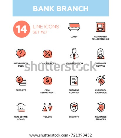 Bank branch - modern vector single line icons set. Lobby, atm, information, loan, customer service, administration, deposit, cash department, currency exchange, real estate, security, insurance.