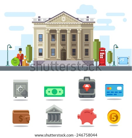 Bank building. Cityscape. Symbols of Business and Finance: money, safe, case, diamond, card, purse, piggy bank, coin. Vector flat illustration