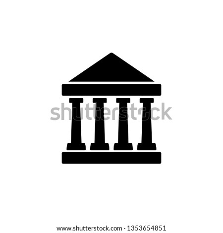 Bank, building, finance flat icon. Editable vector 64x64 Pixel.