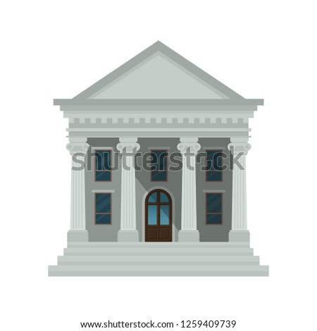 Bank building icon isolated on white background. Front view of court house, bank, university or government institution. Vector illustration. Flat design style. Eps 10.
