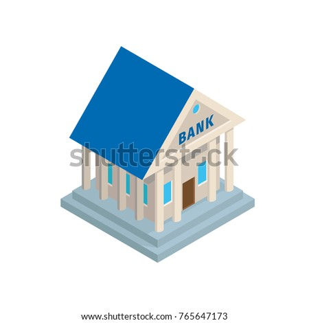 Bank building in ancient roman or greek architectural style with columns isometric projection vector icon isolated on white background. Financial institution symbolic structure 3d illustration