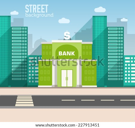 bank building in city space