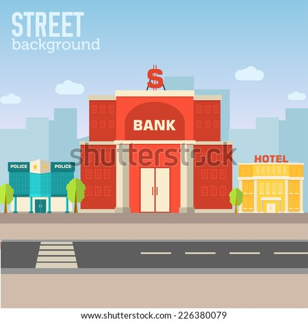 bank building in city space...