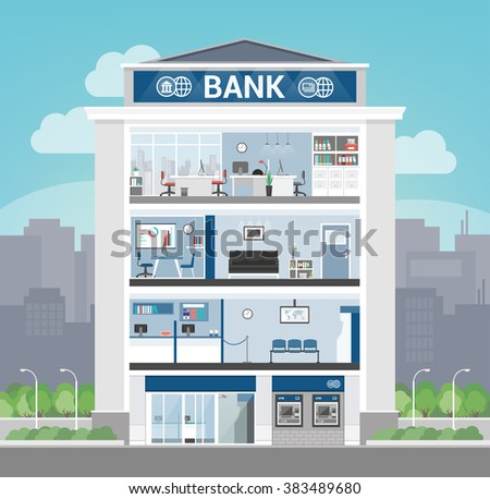 Bank building interior with office, front desk, waiting room, entrance and self service atm, banking and finance concept Stock photo ©