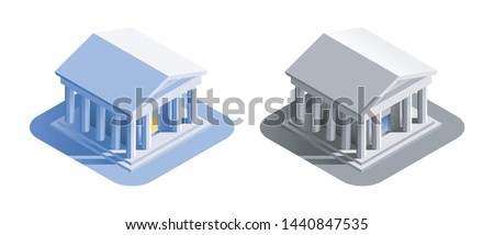 Bank Building. Isometric view at exterior of a bank or a museum building, represented in different color variations.