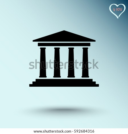 Bank building sign icons, vector illustration. Flat design style