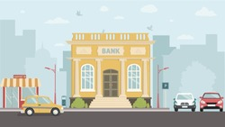 Bank building street with city skylines behind background. Flat vector illustration.
