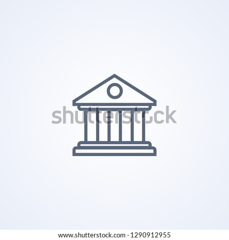 Bank building, vector best gray line icon on white background, EPS 10 Photo stock ©