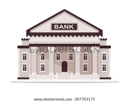 Bank Building. Vector Illustration. Flat Design Style.