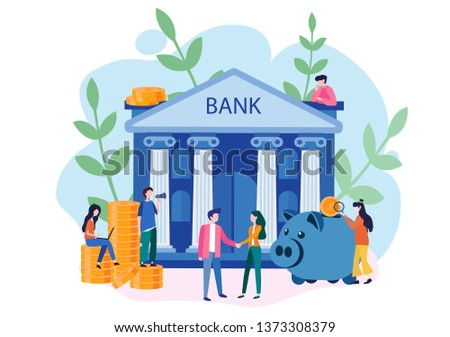 Bank building with piggy bank and small bankers are engaged in work, bank financing, money exchange, financial services, financial services, saving or accumulating money, Vector illustration