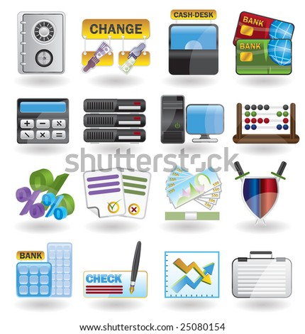 bank, business, finance and office icon set
