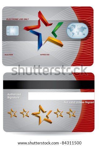Bank card layout with abstract secure sign
