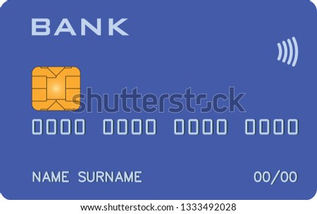 Bank card with PayWave PayPass blue prototype. Abstract bank, abstract payment system
