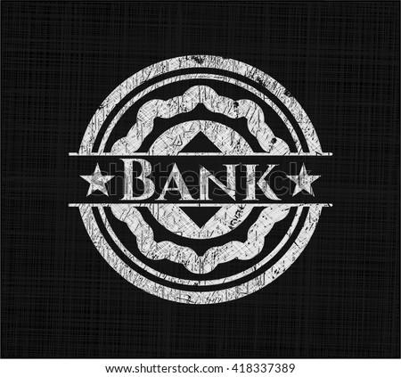 Bank chalkboard emblem written on a blackboard